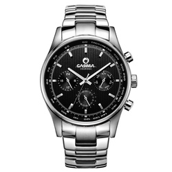 CASIMA Luminous Men Quartz Watch Chronograph Leather / Stainless Steel Strap Waterproof Wristwatch Clock TT@88