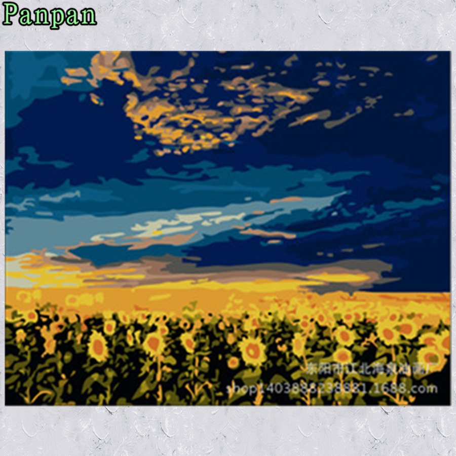 New 3D Unframed Pictures Landscape Sunflower field 40*50 Abstract drawing Paint By Number Digital oil painting on canvas Cuadros