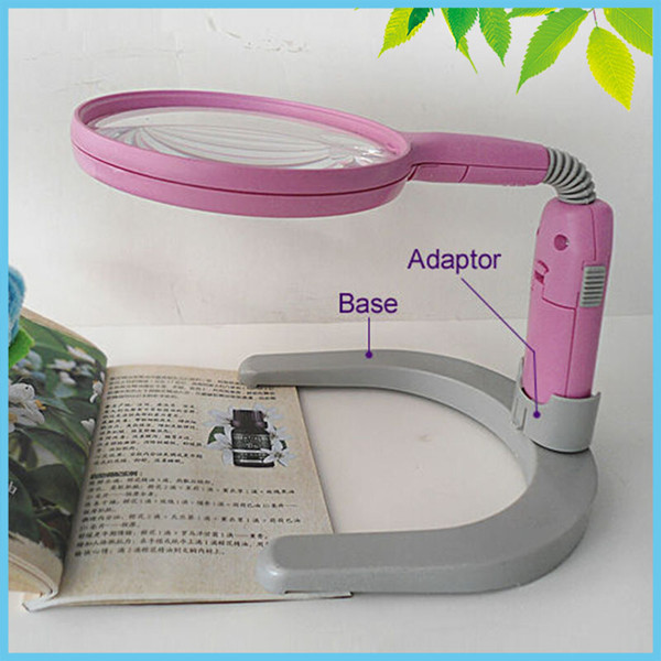 2X 4X Pink Helping Hand Bench Magnifier Illuminated Bench Desktop Magnifier Folding Bench Magnifying Glass for Reading 2x 4x rectangular magnifying glass folding handle magnifier with light for reading mg84028