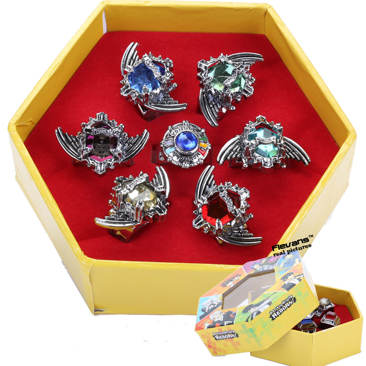 Anime Katekyo Hitman Reborn Sawada Tsunayoshi Cosplay Rings Vongola Rings Set Metal Model Collectible 12 Types