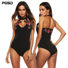 PGSD Summer holiday beach Sexy Slim Halter Flower Embroidery Stitching backless Deep V-Neck Black Bodysuits female Women clothes
