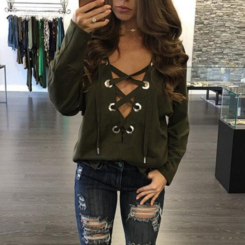 Sexy Women Top Lace Up V-Neck T-Shirt Womens Long Sleeve Pullover Tops Female Loose Clothes Woman Bandage Party Solid T-shirt