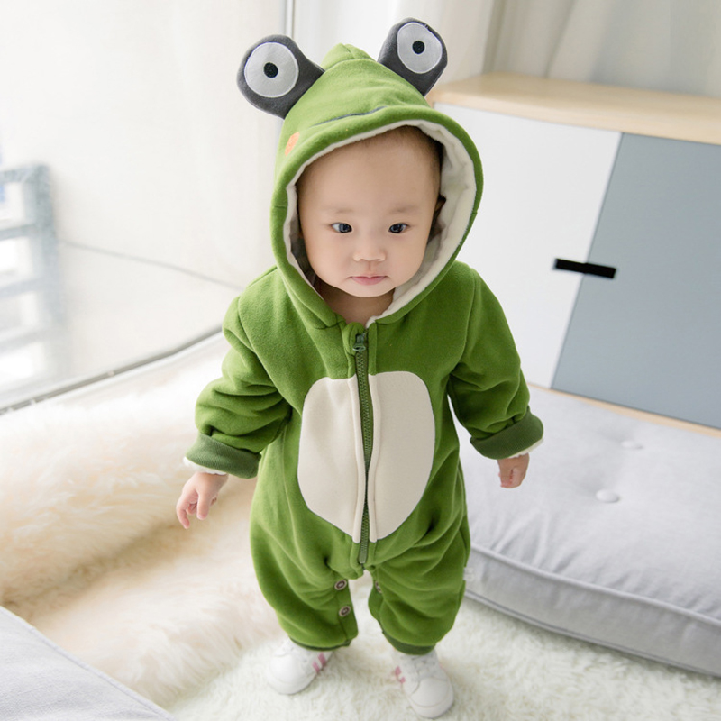 High Quality Newborn Baby Rompers 2017 Winter Warm Boy Clothing  Boy Clothes Cartoon Frog  Hooded Down Snowsuit Infant Jumpsuits winter newborn baby girls clothing boys rompers cartoon infant clothes down snowsuit babies jumpsuits christmas clothing 2016