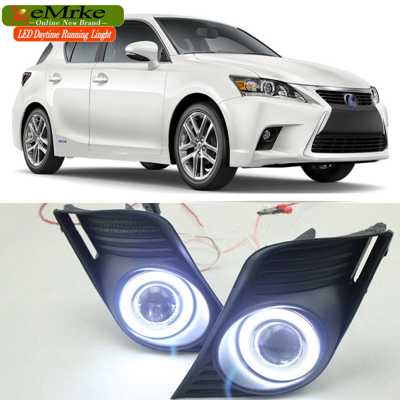 eeMrke LED Daytime Running Lights For Lexus CT220h CT 200h 2014 2015 Fog Light COB Angel Eye DRL with Halogen Bulbs H11 55W eemrke cob angel eyes drl for lexus ct220h ct 200h f sport 30w bulbs led fog lights daytime running lights tagfahrlicht kits