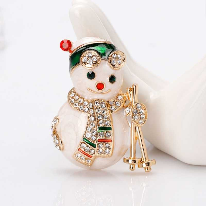 Christmas New Year Snowman Brooch Corsage Gifts Banquet Pins Decorations Badge Exquisite Brooches
