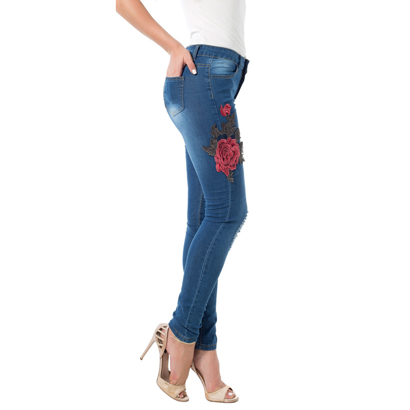 432df3efa39 High Waist Women Distressed Jeans Rose Flower Printed Women 3D Jeans  Wholesale Female Hole Jean Overalls High Quality S2815-in Jeans from Women's  Clothing ...