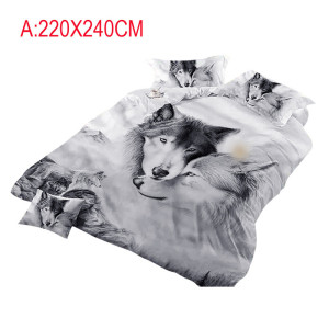 Image 2 - Wolf Couples Bedding Kids 3D Bedding Cool Grey Wolf Duvet Cover Set 3 Pcs 3D Painting Duvet Cover  Do not fade sweet dreams