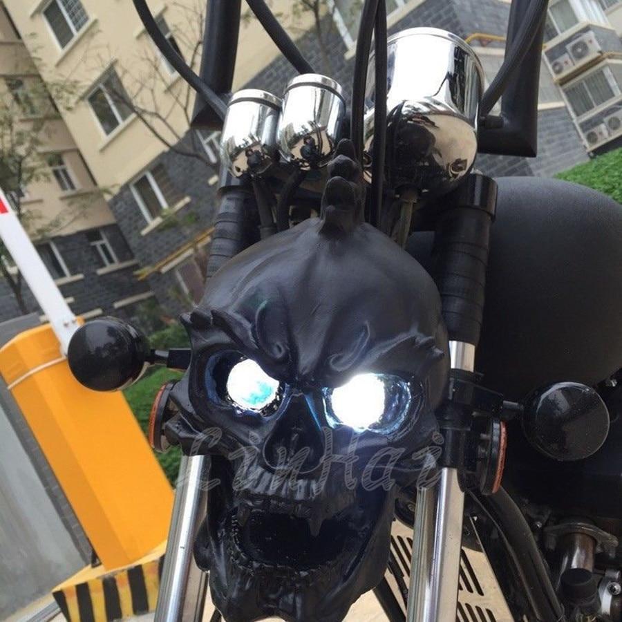 LED Black Universal Motorcycle Skull Headlight With Light In Eyes Resin Custom Lamp For Harley Honda Suzuki Yamaha On Aliexpress