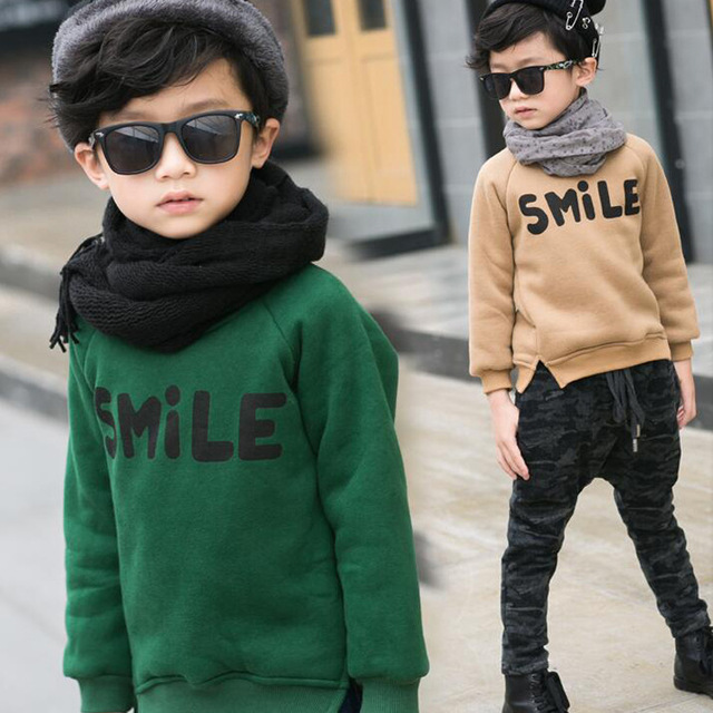 2016 New Winter children clothes high quality fashion style boys sweatershirts with letter smile print A267