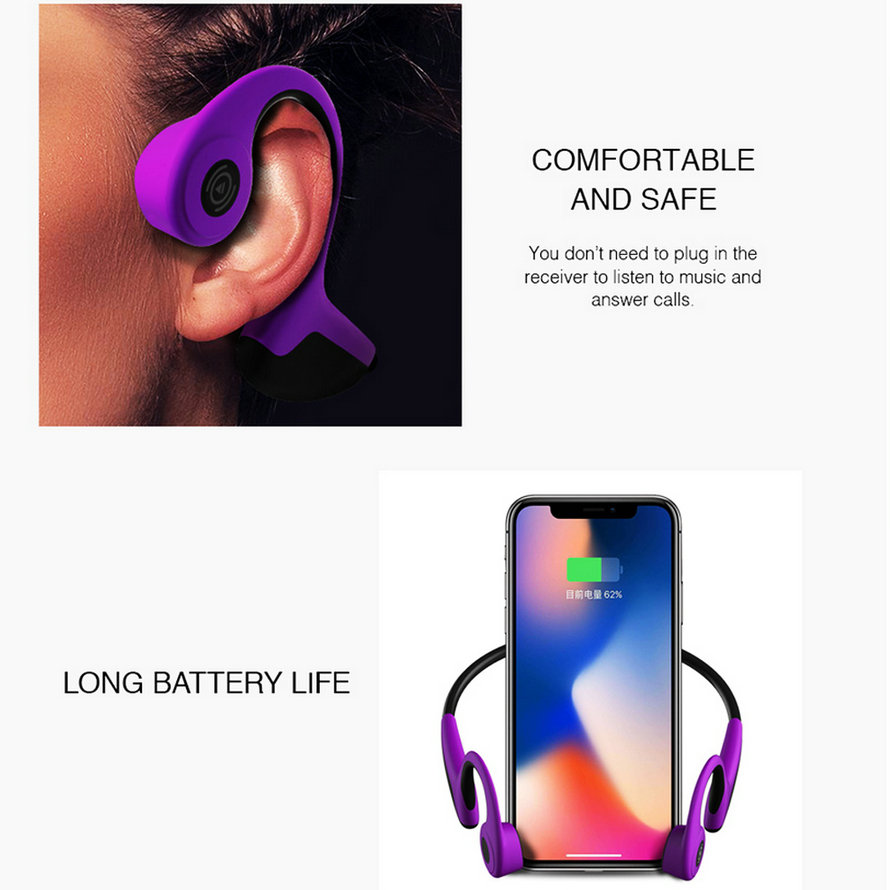 Sports Bluetooth Bone Conduction Earphones Stereo Headset NFC Wireless Headset Outdoor Hands free with Mic For Iphone X Running (8)
