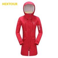 NEXTOUR Outdoor Jacket Women Printing Softshell Medium Hooded Jacket Waterproof Sherpa Fleece Trekking Ski Leisure Tops
