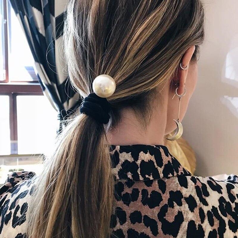 Haimeikang Women Pearl Headband Scrunchies Elastic Hair Band Ponytail Holder Girls Gum For Hair Rubber Rope Hair Accessories