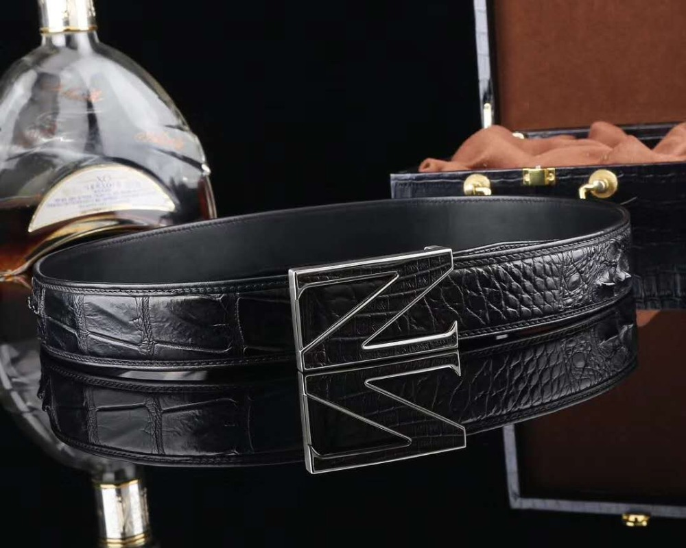 REAL genuine crocodile skin men belt with stainless steel buckle hardware Best quality gift for men belt black brown colors