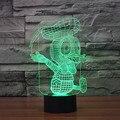 Envío Libre Que Brilla Intensamente colorido Donald Duck 3D Acrílico LED iluminado luz de noche led lámpara de mesa USB de plástico 3D LED Lámparas