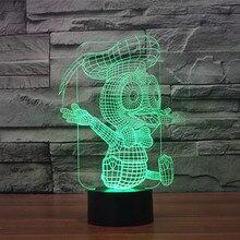 Бесплатная Доставка Светящиеся красочные Дональд Дак 3D Акриловые свет в ночь с подсветкой led пластиковые настольные лампы USB 3D LED Лампы