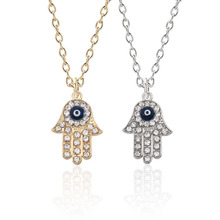 Creative Hip Hop Gothic Blue Evil Eye Hamsa Handmade Tima Palm Necklace Women Mens Gold Silver Rhinestone Pendant Gift