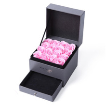 DIY Storage Box Double Layer with Eternal Pink Rose Gift Box Gift Preferred Gift Box Jewelry Display high quality pu leather three layer double drawer jewelry box jewelry display gift box for storage pink