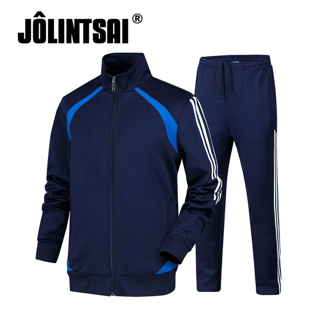 2017 Autumn Striped Sportswear Men Tracksuits Sets Two Pieces Set 3XL 4XL Casual Patchwork Hoodies Pants