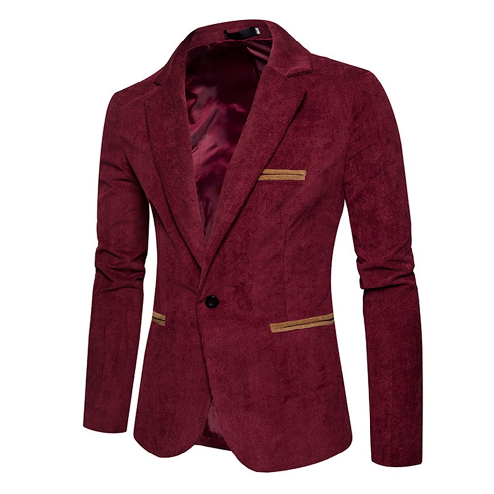 Helisopus New Spring Mens Suits Blazer Europen Style Unique Solid Color Corduroy Suit Long Sleeve Casual Slim Suit For Men