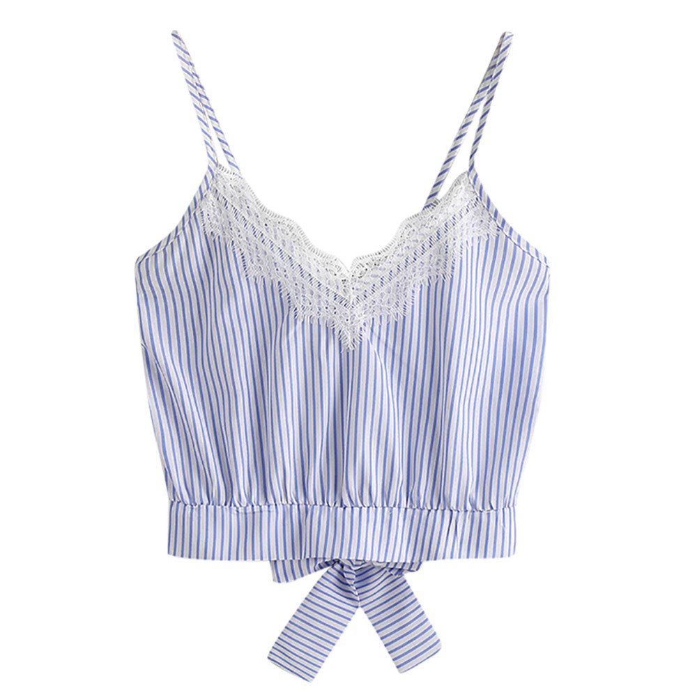 Summer Blue Stripe   Tank     Tops   For Women's Self Tie Back V Neck Crop   Tops   Cami Camisole Female Camisas Mujer