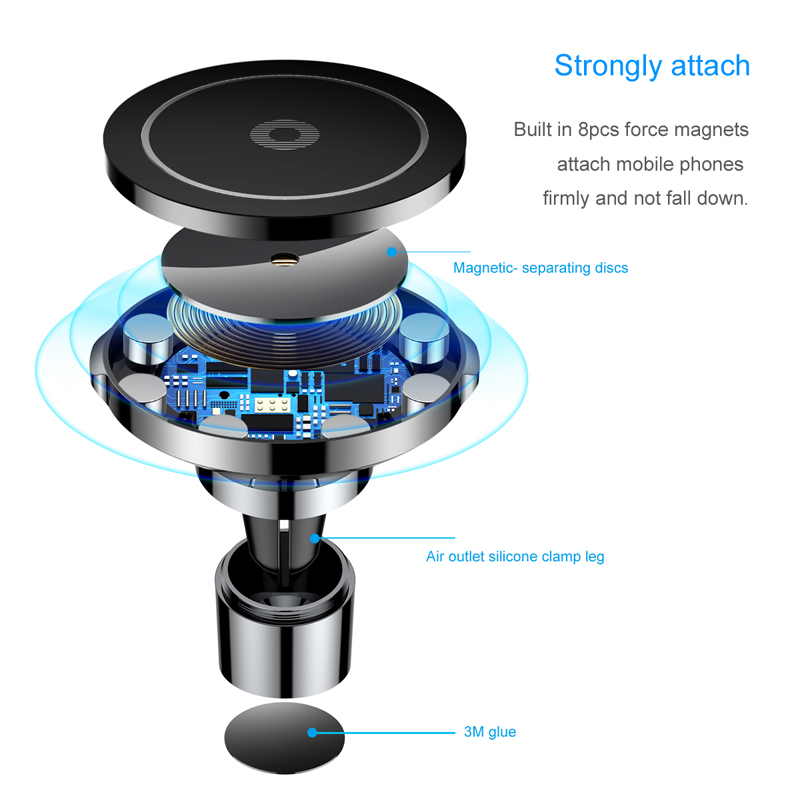 Baseus Car Magnetic Qi Wireless Charger For iPhone X 8 Samsung Note 8 S8 S7 Fast Wireless Charging Car Mount Phone Holder Stand in Mobile Phone Chargers from Cellphones Telecommunications