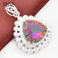 ENYA New Fashion Jewelry Shiny Rainbow Fire Mystic Synthetic Topaz Pendants For Women Best Gift P1140