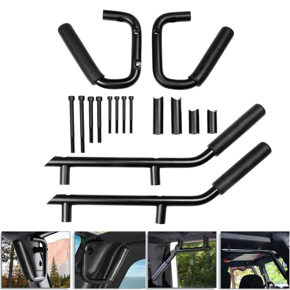 Front Rear Grab Bar Grab Handle 2 & 4 Door Front Grab Handles Kit for 2007 2018 Jeep JK Wrangler Unlimited