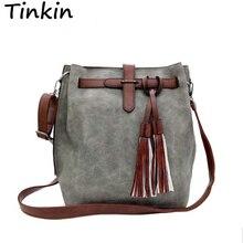 Tinkin Mode Peeling Frauen Eimer Tasche Vintage Quaste Umhängetasche Große Retro Umhängetasche Einfache Crossbody Tasche