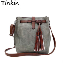 Tinkin Fashion Scrub Women Bucket Bag Vintage Tassel Messenger Bag Large Retro Shoulder Bag Simple Crossbody Bag