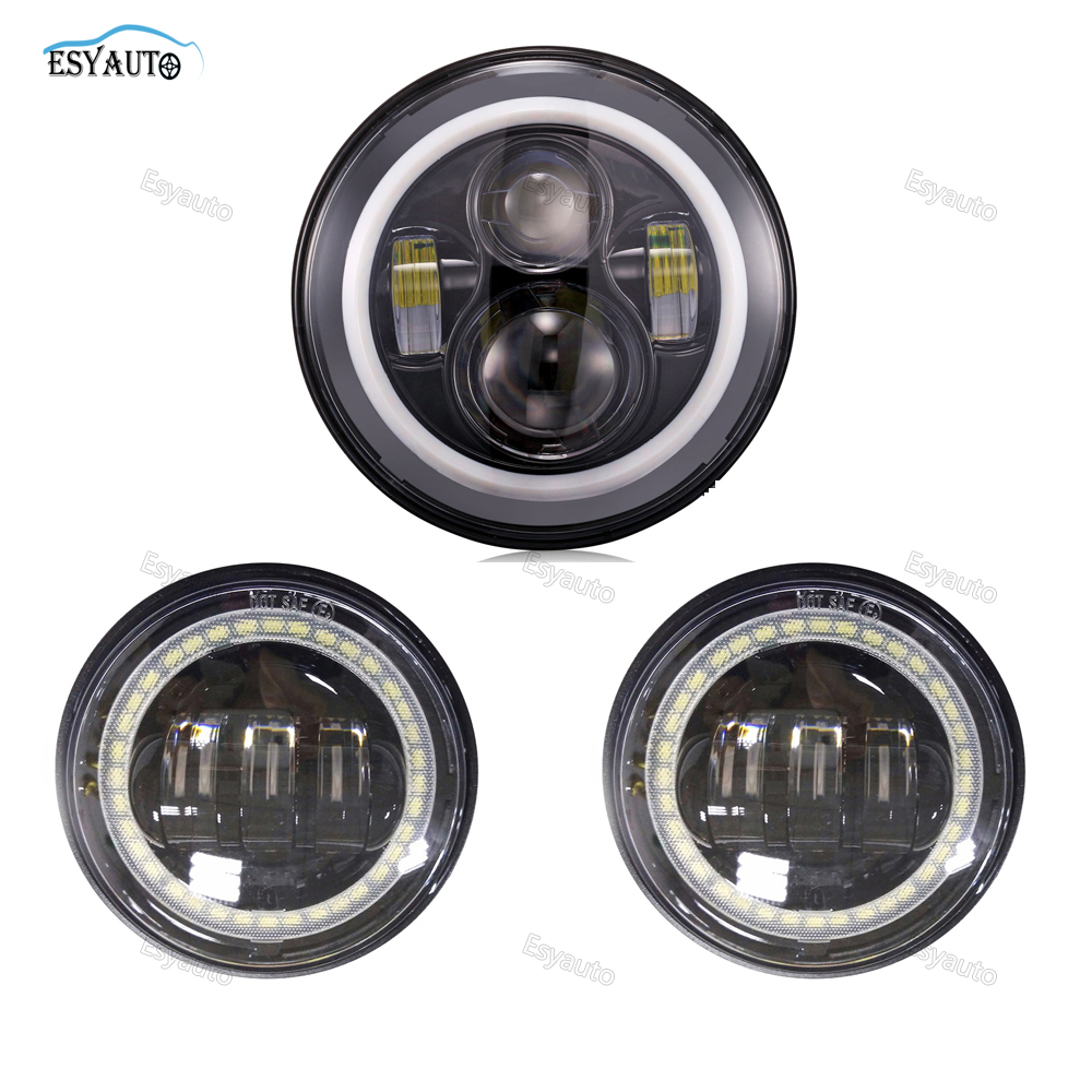 7 Quot Inch Led Headlight White Angel Eye Halo Ring 4 In Fog