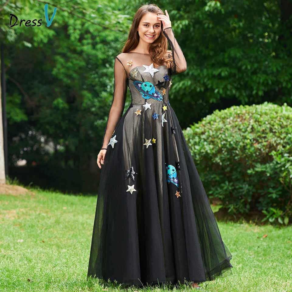 Dressv Black Evening Dress Scoop Neck A Line Long Sleeves Floor-length Appliques Wedding Party Formal Dress Evening Dresses