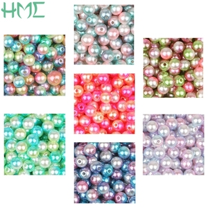 4/6/8/10mm Multicolor Round Plastic ABS Loose Pearl With Hole Beads For DIY Craft Scrapbook Decoration Art Dress Shoes Making