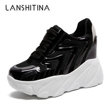 2019 Summer Women Mesh Sneakers Casual High Platform Trainers White Shoes 10CM Heels Wedges Breathable Woman Thick Sole Shoes стоимость