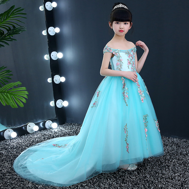 Trailing Party Girl's Dresses Off the Shoulder Flower Girl Dress Kids Pageant Dress Appliques Girls Gown Dress Ball Gown Long все цены