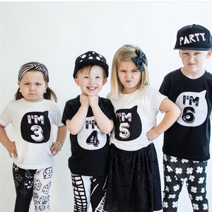 Summer Girl boys Tops 2020 Kid t shirts Tee Clothes Cotton funny T Shirts 1st One Years 2nd Birthday Outfits 3 Year White Tshirt
