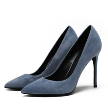 2020 New Arrival Suede Leather Shoes Women Pumps Pointed Toe Sexy Thin High Heels Shoes Party Wedding Shoes Woman F0075 stylesowner 2018 new arrival soft genuine leather women pumps sexy buckle strap pointed toe super high thin heels party shoes