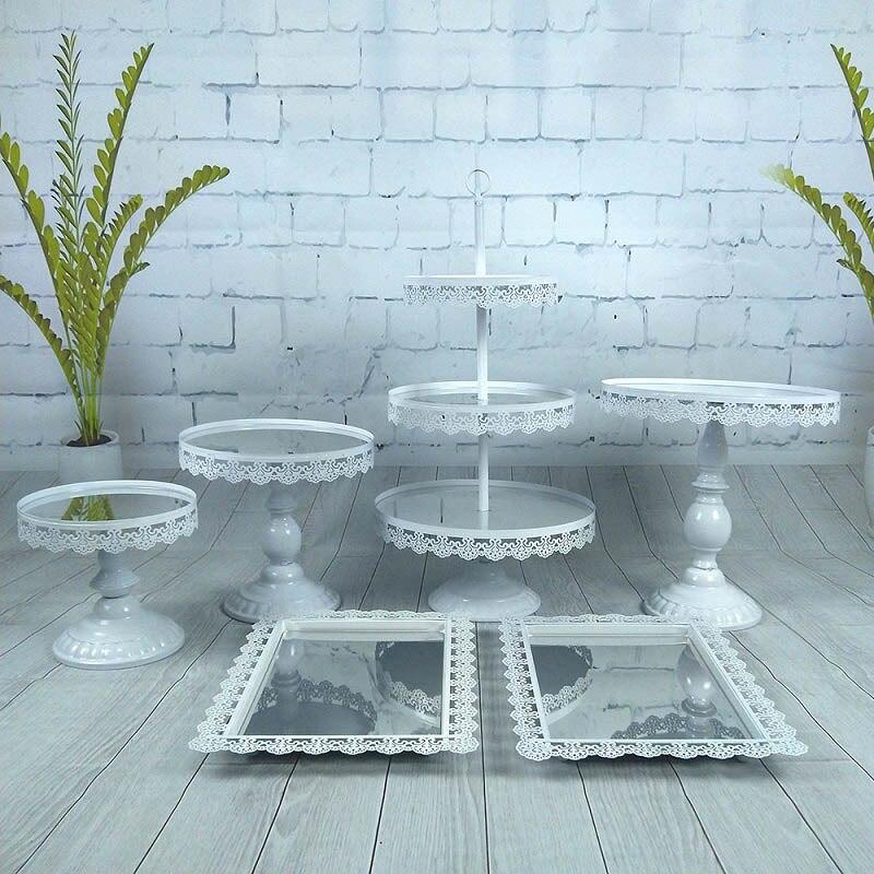 6 pièces/ensemble miroir Surface Top gâteau Stand Set Cupcake Stand Table décoration or argent Rose blanc Rose or