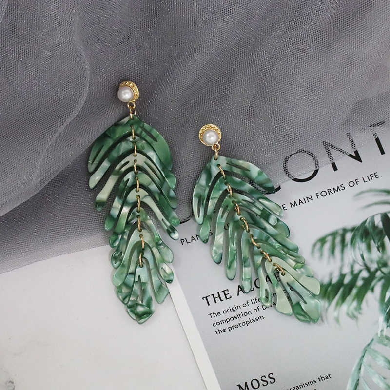 JURAN 2019 new long dangle resin green leaves earrings party jewelry accessories handmade fashion acrylic earrings for women
