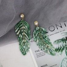 JURAN 2019 new long dangle resin green leaves earrings party jewelry accessories