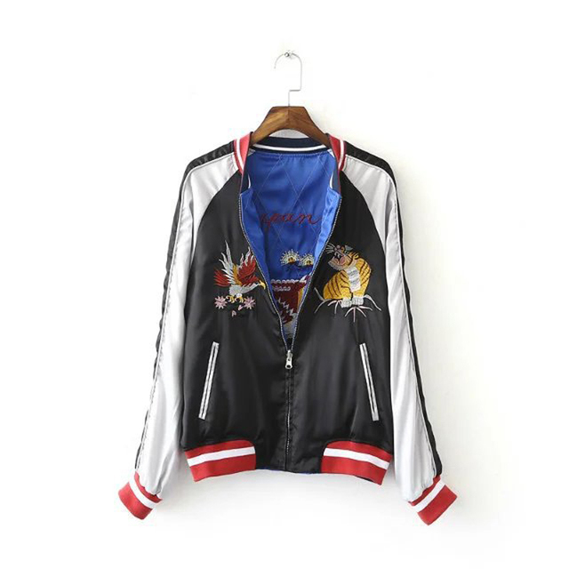 80468666dc6f Autumn Satin Embroidery Bird Tiger Women Jackets Reversible Blue Black Long  Sleeve Couples Bomber Baseball Quilting