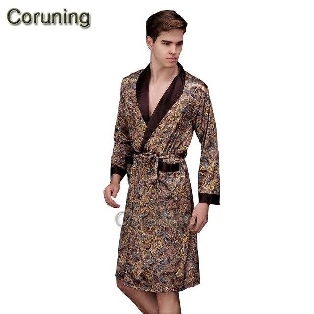 1429 2017 spring summer autumn new luxury print silk robe male ...