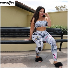 Old Newspapers Printed Two Piece Set Women Sexy Casual Outfits Strapless Jumpsuit Bodycon Bodysuit Club Wear Crop Top Pants