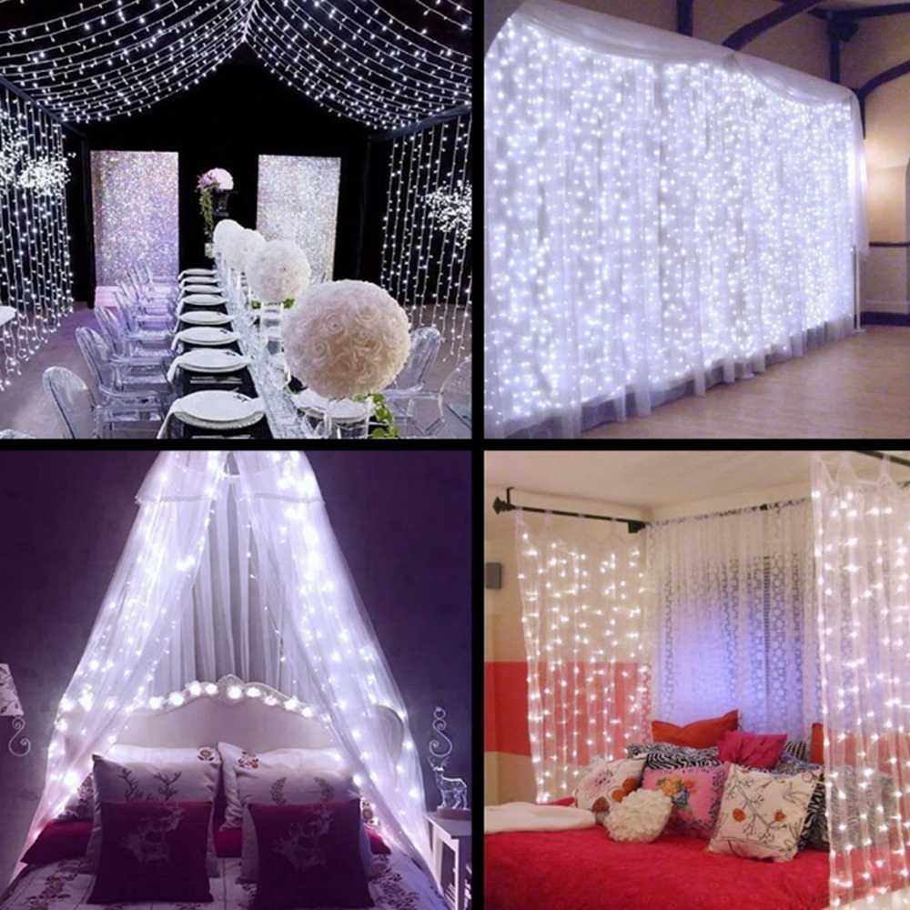 2x2/3x1/3x2/3x3m Curtain Wedding Decorative Lights 220V Christmas Fairy Lights Garland Iciicle Led String Light for Window Home