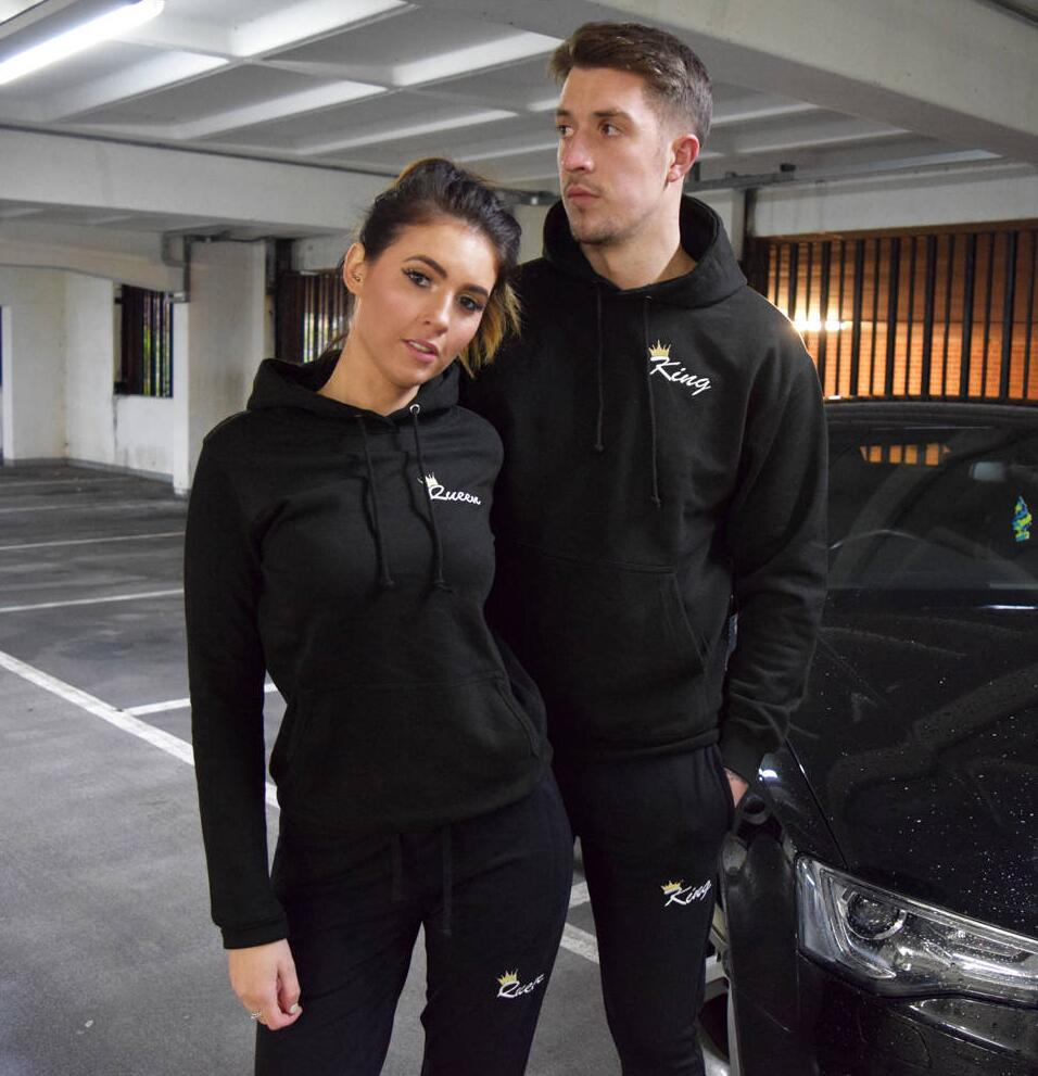 2018 Autumn Matching Couple Casual Tracksuits Women Men King Queen Print Hooded Hoodies And Pants Suits Lover Christmas Gifts