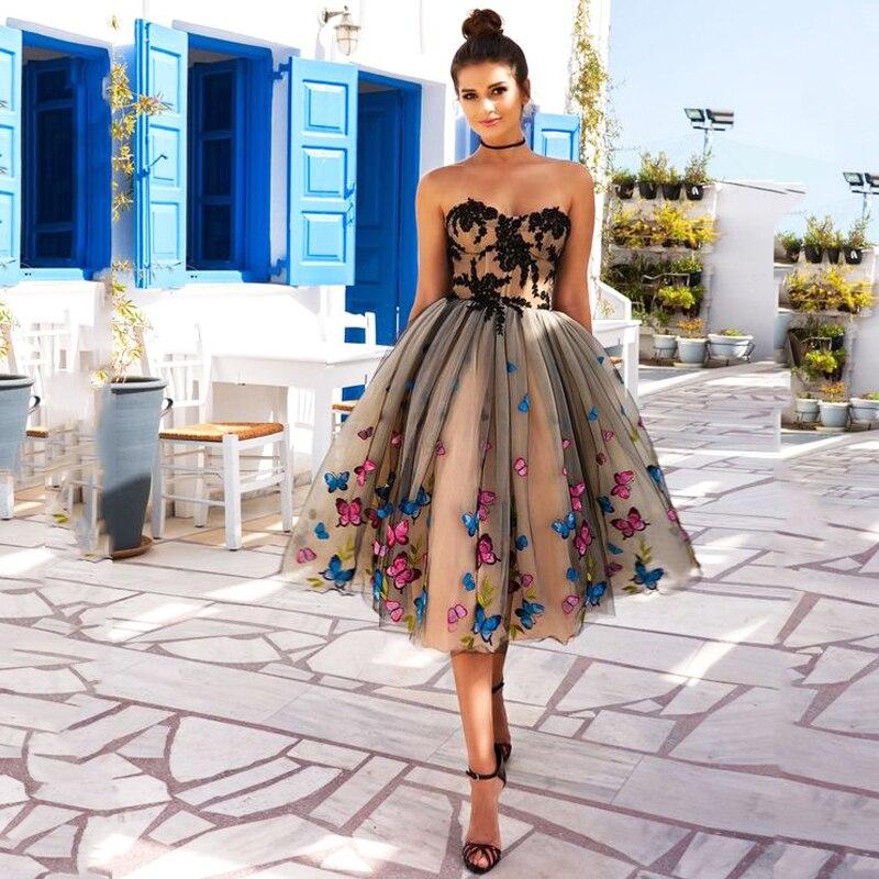 Burterfly Koronki Aplikacje Plisowane Formalna Kobiety Suknia Balowa Suknia dla Mody Dziewczyna prom Urodziny Wieczór Party Rocznika Mały Desses w Suknie od Odzież damska na  Grupa 2