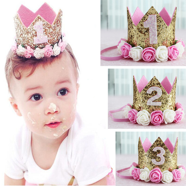 Happy Birthday Hats One Year Old Crown Corona Princess 1st 2nd 3rd Number Kids Party Hat Caps