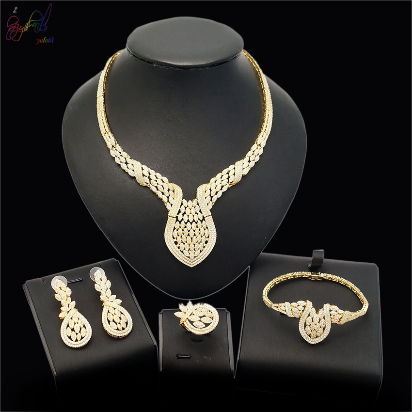 YULAILI Factory Free Delivery Fashion Design Gold Color Zircon Ladies Costume Wedding Engagement Jewelry Sets