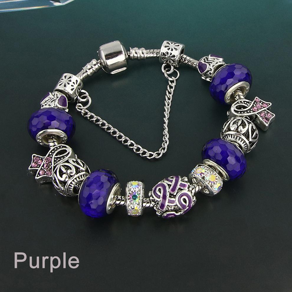 Glass Bead Charm Bracelet - purple