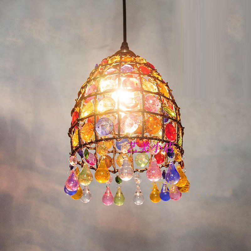 Nepal Dining Room Pendant Light Bar Counter Colorful Beads Pendant Lamp Nordic Restaurant Balcony Hanging Lighting Fixtures led oblong crystal tube dining room pendant lights restaurant bar counter pendant light balcony hallway hanging fixtures