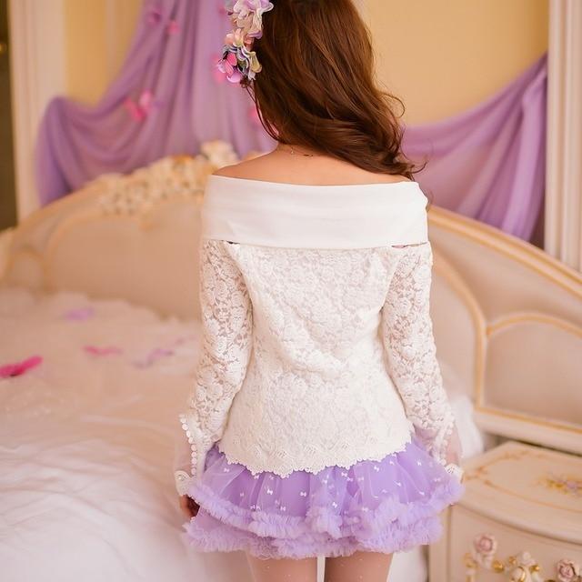 Princess sweet lolita blouse Candy rain spring new Cute slash neck lace bow princess blouse C15AB5656